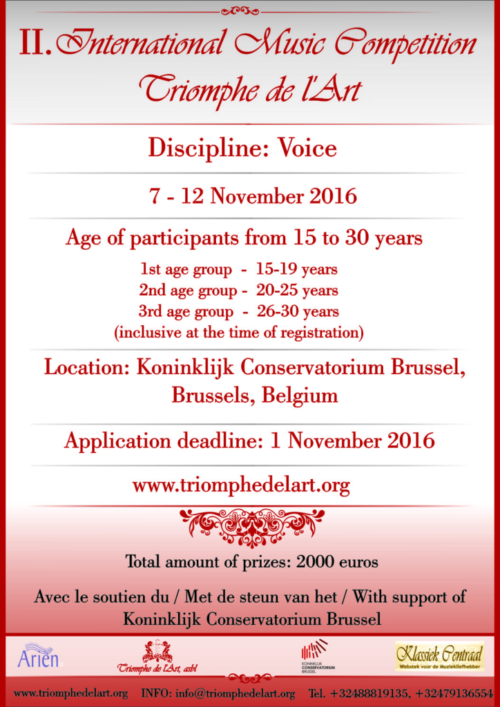 2nd International Music Competition Triomphe de l'Art in discipline Voice in Brussels
