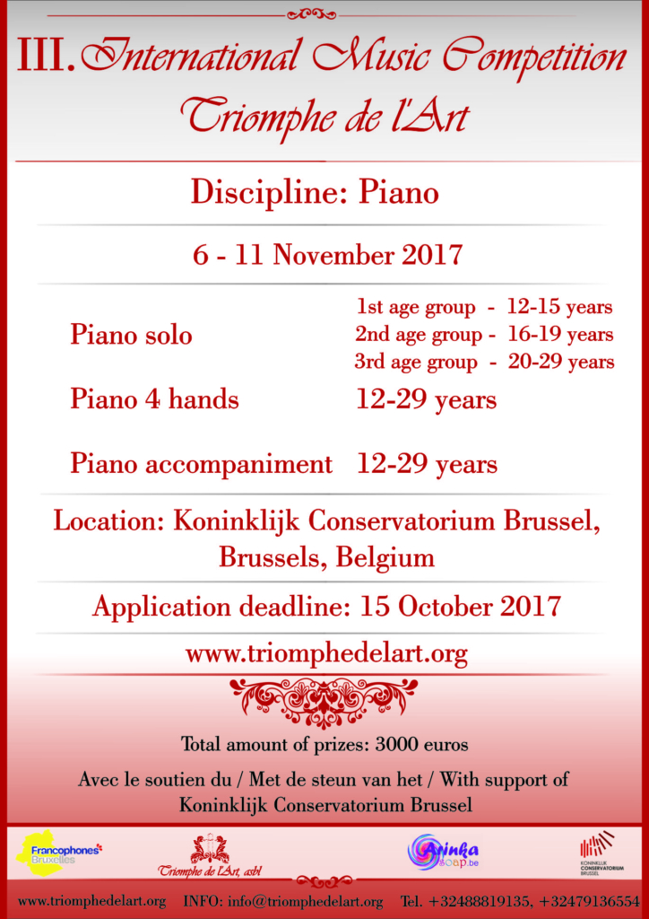 3rd International Music Competition Triomphe de l'Art in discipline Piano