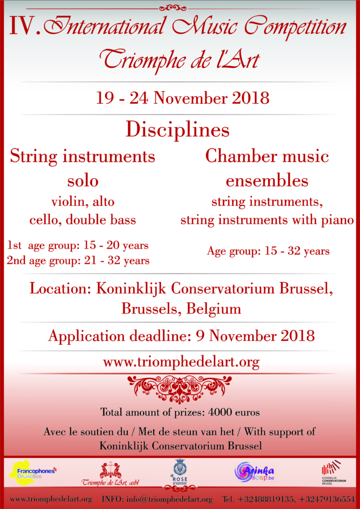 4th International Music Competition Triomphe de l'Art in disciplines String Instruments and Chamber Music Ensembles
