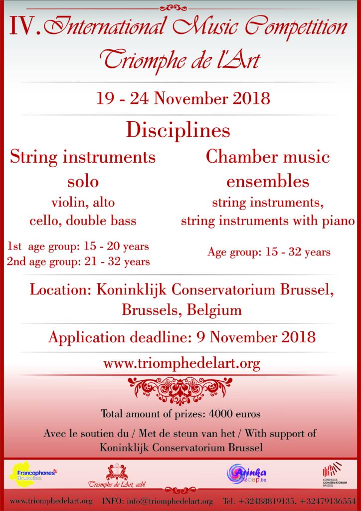 4me Concours International de Musique Triomphe de l'Art disciplines Instruments à cordes Ensembles de musique de chambre