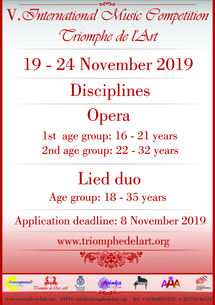 5th International Music Competition Triomphe de l'Art in disciplines Opera and Lied duo