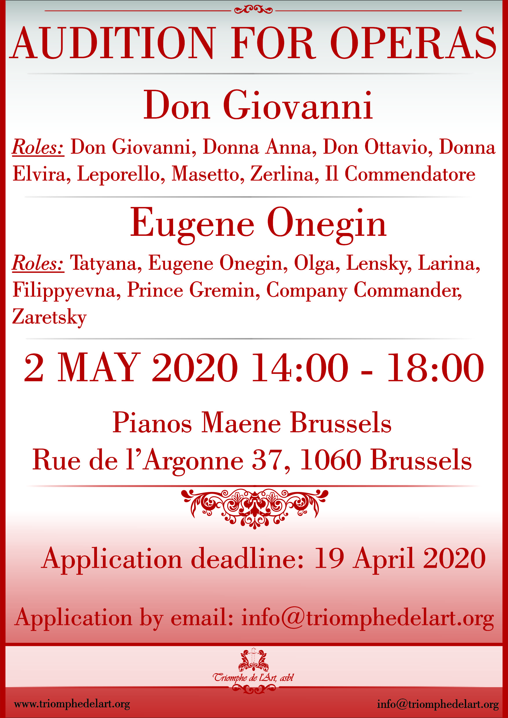 Audition operas Don Giovanni and Eugene Onegin