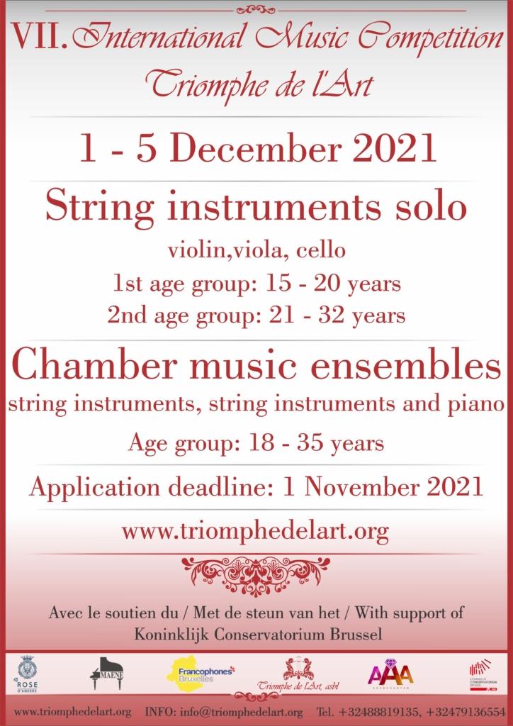 7 Concours International de Musique Triomphe de l'Art disciplines Instruments à cordes et Ensembles de musique de chambre